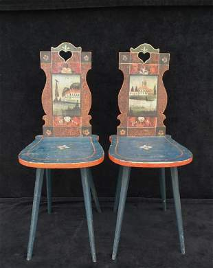 PR. AUSTRIAN PAINT DECORATED CHAIRS