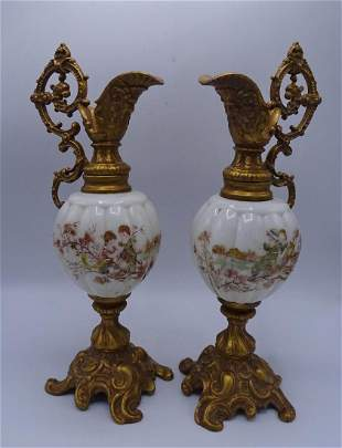 PR. VICTORIAN PAINTED GLASS EWERS