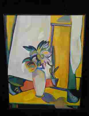 RUSSIAN ART DECO STYLE OIL ON CANVAS STILL LIFE SGN.