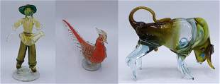 3 PCS. VENETIAN GLASS INC. BULL