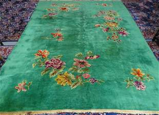 NICHOLS CHINESE RUG GREEN WITH FLOWERS