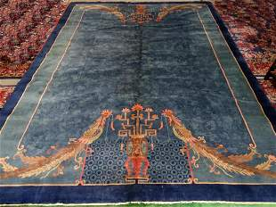 NICHOLS CHINESE RUG BLUE WITH ROOSTERS