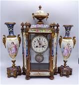 3 PC. FRENCH CLOCK GARNITURE
