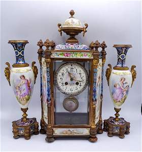 3 PC. FRENCH CLOCK GARNITURE