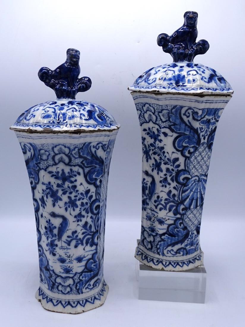 PR. BLUE & WHITE COVERED JARS