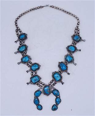 STERLING & TURQUOISE SQUASH BLOSSOM NECKLACE