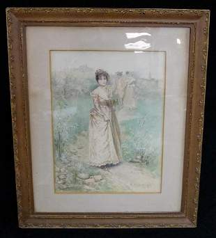 "EDWARD PERCY MORAN SGN. WATERCOLOR ""LADY ON A PATH"""