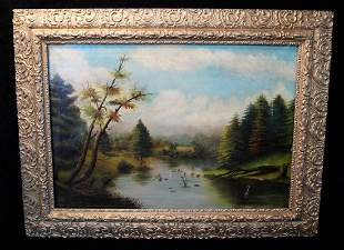 "19TH C. HUDSON RIVER SCHOOL OIL ON CANVAS ""BROOK IN A"