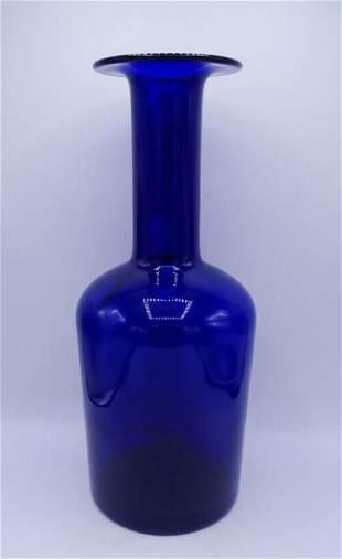 HOLMGAARD TALL BLUE GLASS VASE