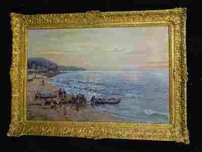 F. MORELLO  SGN. OIL ON CANVAS SHORE SCENE