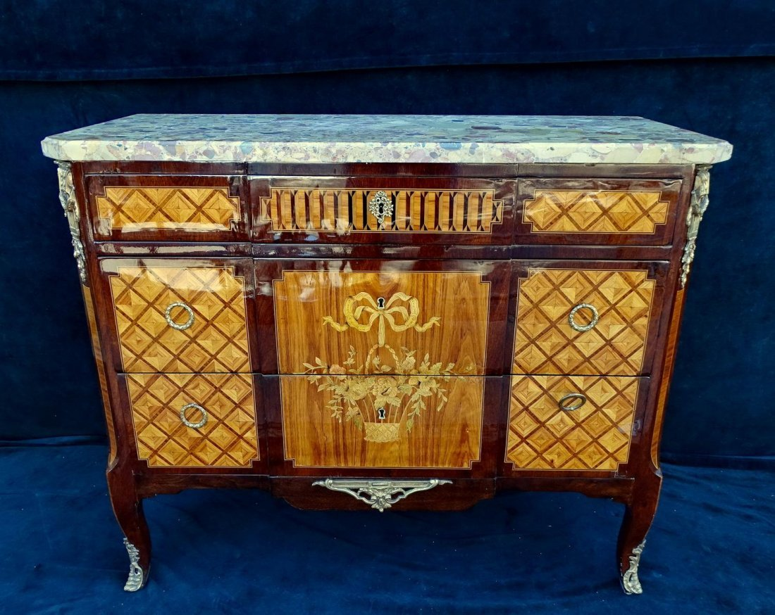 LATE 19TH C. LOUIS XVI STYLE MARQUETRY & PARQUETRY