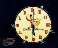 VINTAGE OLD DRUM WHISKEY ADVERTISING CLOCK
