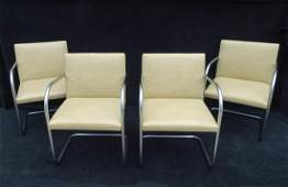SET 4 KNOLL LEATHER BRUNO CHAIRS