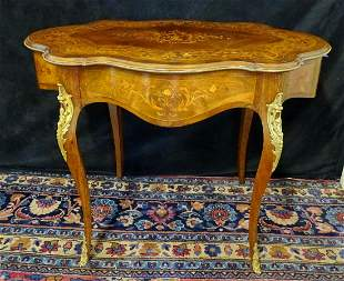LOUIS XV STYLE MARQUETRY INLAID CENTER TABLE