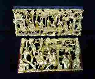 2 CARVED GILT WOOD ASIAN DECORATIONS