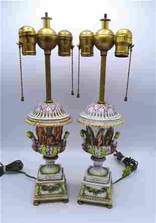 PR 19TH C EARLY CAPODIMONTE LAMPS