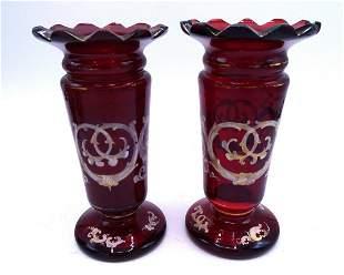 PR BOHEMIAN GLASS VASES