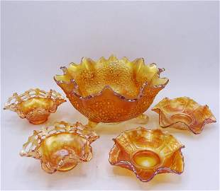 IRRIDESCENT CARNIVAL GLASS BOWLS
