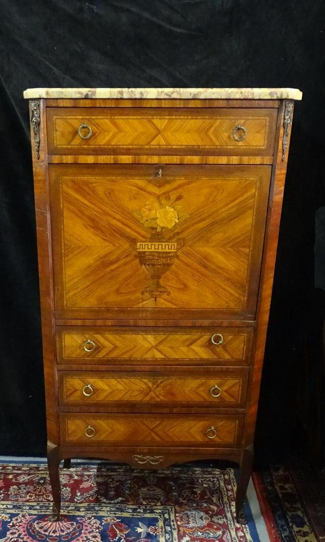 LOUIS XV STYLE BRONZE MOUNTED INLAID MARBLE TOP