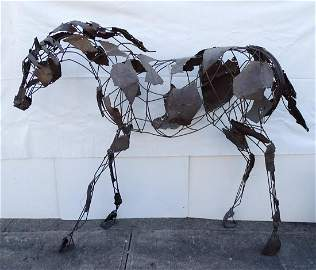 WROUGHT IRON HORSE SCULPTURE