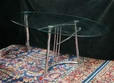 MID CENTURY CHROME & GLASS DROP LEAF TABLE / DESK