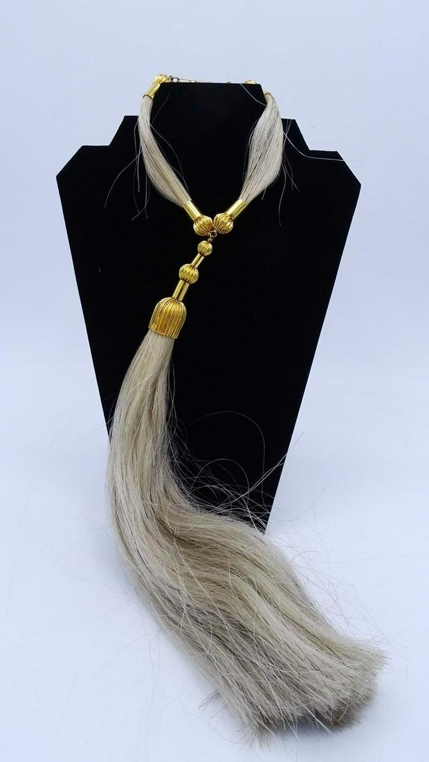 C. 1970 HORSE HAIR TASSEL NECKLACE WITH GOLD TONE