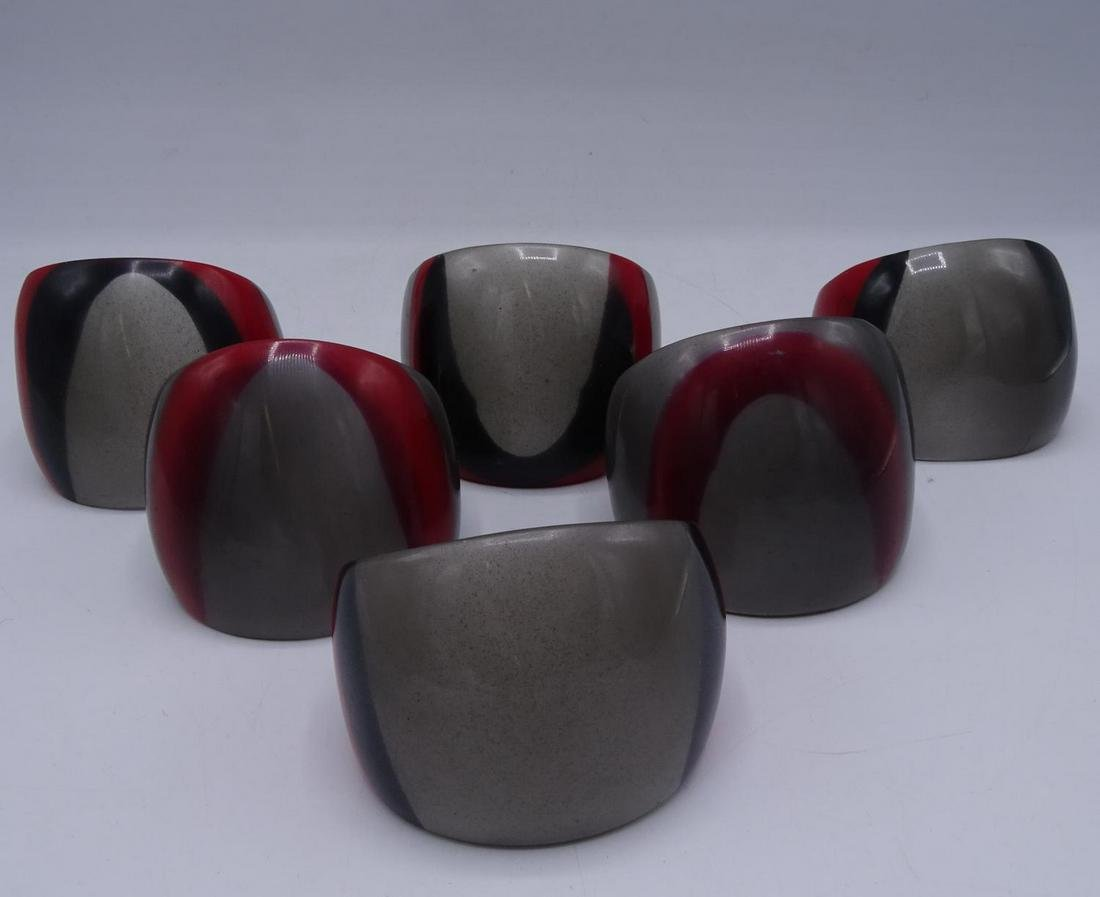 GROUP 6 SMOKY GRAY LUCITE & RED STRIPED BANGLES