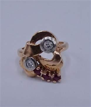 14KT PINK GOLD RETRO RUBY DIAMOND RING SZ 6
