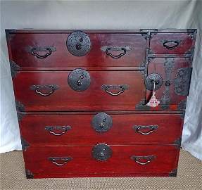 "19TH C. ASIAN LACQUERED 2 PART TANSU CHEST 41"" X 45"" X"