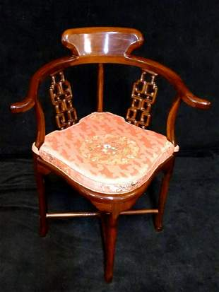 ASIAN CARVED ROSEWOOD CORNER CHAIR 33H 27W 22D