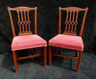 PR MAHOGANY SPINDLE BACK CHAIRS 36H 20W 18D