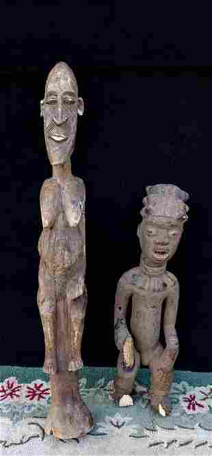 2 CARVED TRIBAL FIGURES 1 AS IS 42H TALLEST