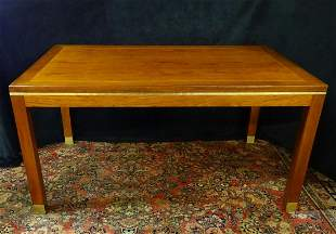 MID CENTURY INLAID ROSEWOOD BRASS BOUND TABLE 30H 60W