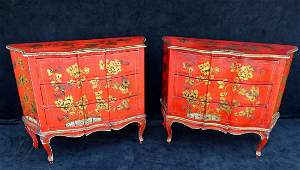 "PR. ITALIAN RED CHINOISERIE  DECORATED CHESTS 32""H 40""L"