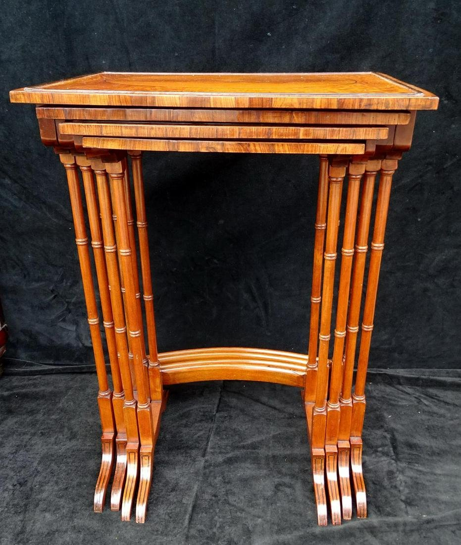 "NEST 4 SATINWOOD & ROSEWOOD ENGLISH INLAID TABLES 27""H"