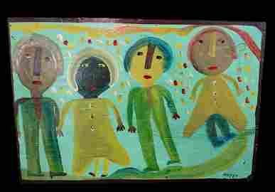 MOSE TOLLIVER AFRICAN AMERICAN FOLK ARTIST OIL ON BOARD