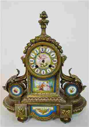 FRENCH MANTLE CLOCK W/SEVRES STYLE PORCELAIN INSERTS