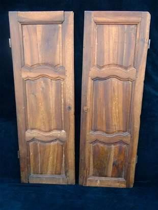 "PR. 18TH C. FRUITWOOD CABINET DOORS 68"" X 23"""