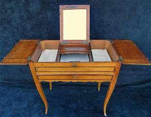 """18TH C. LOUIS XV STYLE SATINWOOD INLAID POUDRE 28"""" X"""