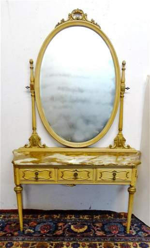 LOUIS XVI STYLE PAINT DECORATED MARBLE TOP MIRRORED