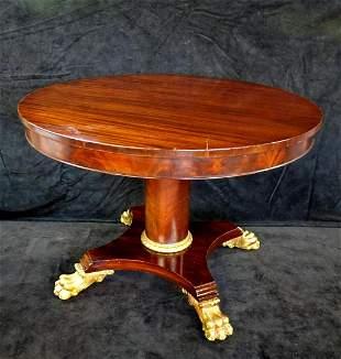 19TH C. REGENCY MAHOGANY CENTER TABLE  W/GILT PAW FEET