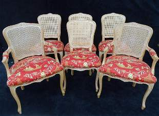 SET 6 LOUIS XV STYLE  DINING CHAIRS (4 SIDE, 2 ARM)