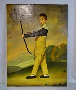 THOMAS MORRIS 18TH C. OIL ON CANVAS YOUNG ARCHER