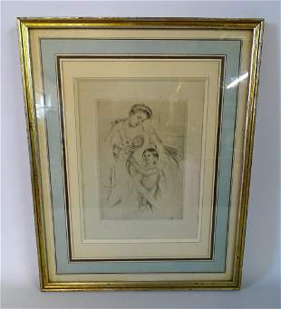 MARY CASSAT DRY POINT ETCHING MOTHER & CHILD WITH