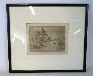 JOHN MARIN SGN. DRY POINT ETCHING VENETIAN SCENE SGN.
