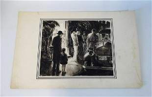 """S. FILBERY SGN.  """"LEAVING HOTEL"""" 11X13"""""""