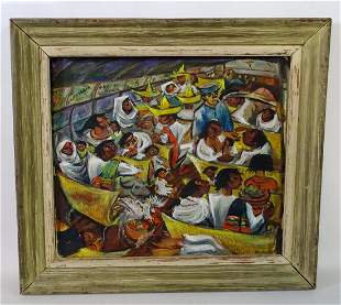 """ZAIDENBERG SGN. OIL ON CANVAS """"THE BUS RIDE"""" 24X20"""""""