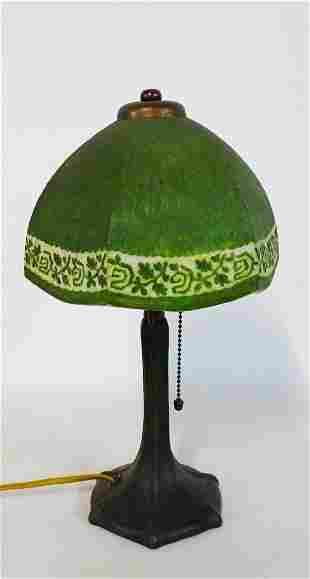 HANDEL DESK LAMP REVERSE PAINTED  W/SIGNED BASE & SHADE