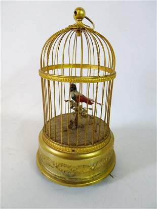 "SINGING BIRD IN CAGE (AUTOMATON) 11"" H"