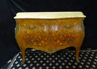 "19TH C. LOUIS XV STYLE  MARQUETRY INLAID COMMODE 33""H"